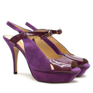 Yves Saint Laurent Purple Peep-toe Suede & Patent Sandals