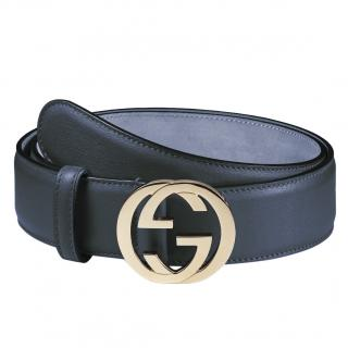 Gucci Navy Blue Leather Belt