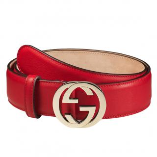 Gucci Red Leather Belt