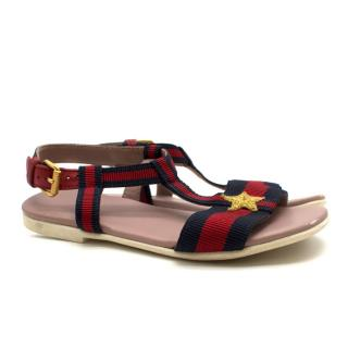 Gucci Girls' Red & Navy Striped Sandals