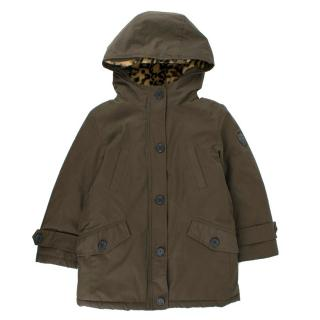 Bonpoint Girls' Army Green Faux-fur Lining Jacket