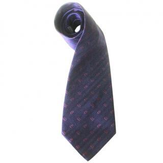 Dior Navy Blue Silk Printed Tie