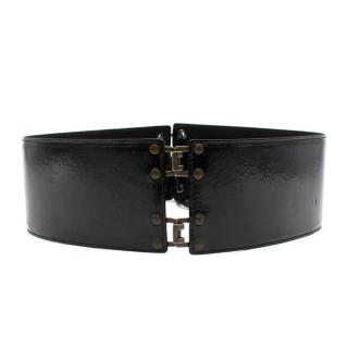 Yves Saint Laurent Black Patent Leather Waist Belt