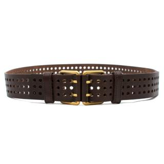 Yves Saint Laurent Brown Perforated Leather Belt