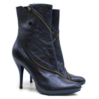 Alexander McQueen Metallic Blue Heeled Ankle Boots