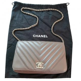 b8313d2d20 Chanel Brown Chevron Crossbody Bag