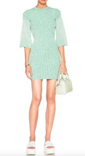 Stella McCartney Green Sculptural Ribs Dress