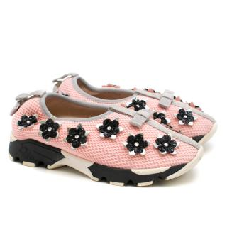 Dior Girls Pink Embellished Fusion Sneakers