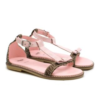 Fendi Girls Pink Logo Motif Sandals