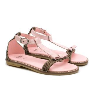 Fendi Girls Pink Logo Motif Sandals