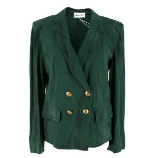 Emilio Pucci Green Double-Breasted Suede Blazer Jacket