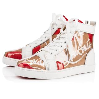 Christian Louboutin Louis Kraft leather and PVC high-top trainers