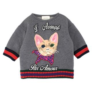 Gucci Girls' Grey L'Avengle Par Amour Embroidered Jumper