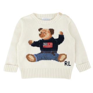 Ralph Lauren Boys 9-months Knit Bear Jumper