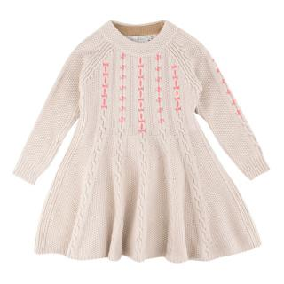 Christian Dior Girls Beige Cable-knit Dress