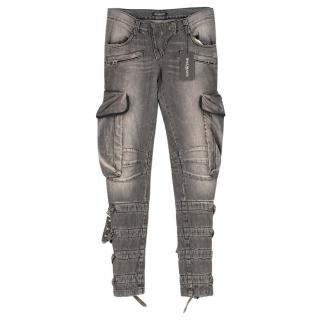 Balmain Grey Belted-hem Jeans