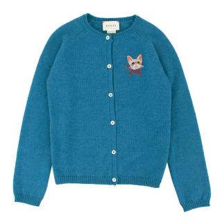Gucci Girls' Blue Wool Cardigan
