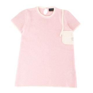 Fendi Girls' Light Pink Wool-blend Knit Dress