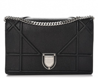 Dior Diorama Black Grained Wallet On Chain