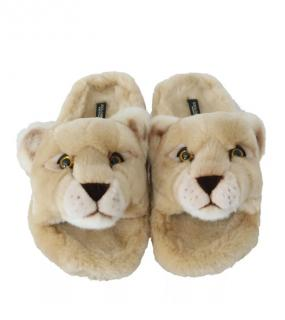 Dolce & Gabbana Faux Fur Lion Slippers