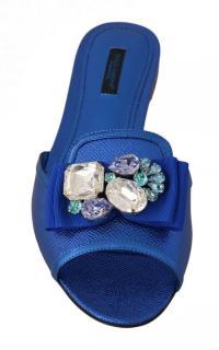 Dolce & Gabbana Blue Crystal Embellished Leather Slides