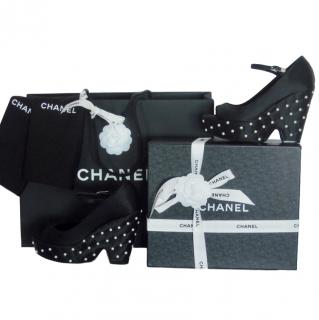 Chanel pearl-embellished black wedge heels