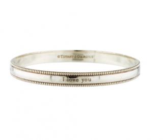 Tiffany & Co. 'I Love You' Sterling Silver Bangle