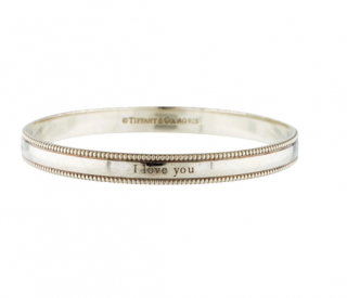 Tiffany & Co. 'I Love You' Sterling Silver Bangle