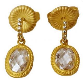 Freida Rothman Oval Cut Crystal  Drop Earrings