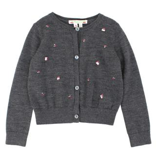 Bonpoint Girls 4-years Grey Embellished Cardigan