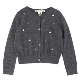 Bonpoint Girls 4-years Grey Embellished Cardigan