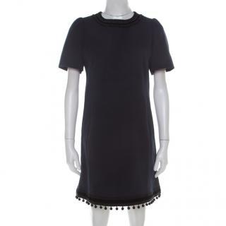 Marc Jacobs Navy Blue Textured Cotton Wool Tassled Pom Pom Hem Mini Dress