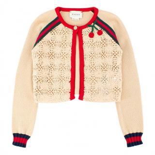 Gucci Girls 5-years Beige Cherry Knit Cardigan