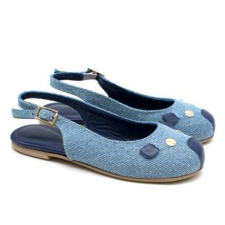 Little Marc Jacobs Girls Denim Mouse Ballet Flats