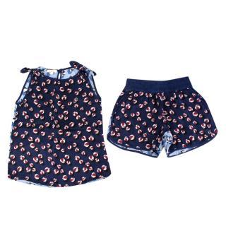 Gucci Girls' Blue Printed Silk Top & Shorts