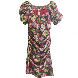 Manoush Rose-Print Ruched Dress
