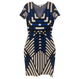 Diane Von Furstenberg Geometric Print Jersey Fitted Dress