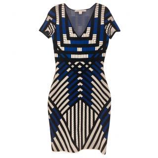 Diane Von Furstenberg Geometric Print Jersey Fitted Dress
