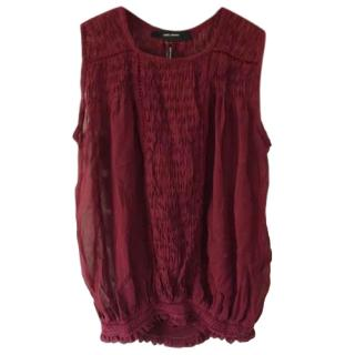 Isabel Marant Red Silk Ruched Top