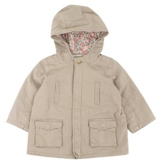 Bonpoint Girls Beige Cotton Hooded Jacket