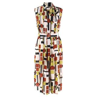 Bottega Veneta Multi Geometric Print Pleated Dress