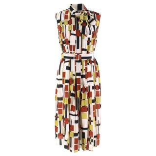 Bottega Veneta Multi Geometric Print Pleated Dress