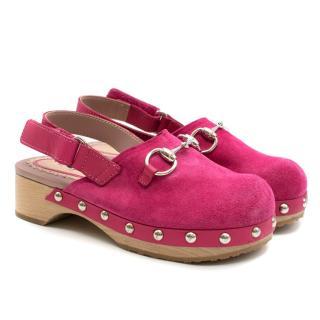 Gucci Girls Pink Horsebit Suede Clogs