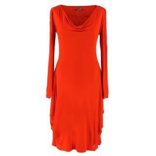 Alexander McQueen Red Viscose Long-Sleeved Dress