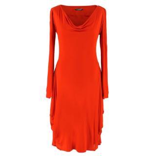 Alexander McQueen Red Viscose Long-Sleeved Dress
