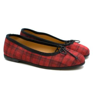 Gallucci Girls Red Checkered Suede Ballerina