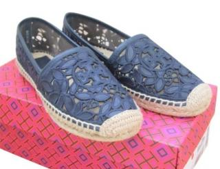 Tory Burch Navy Lace Espadrilles