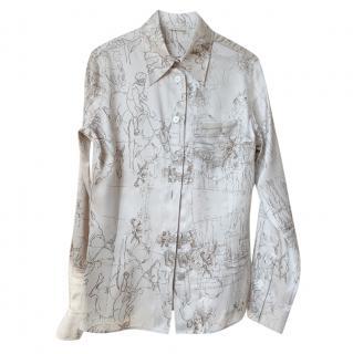 Hermes Equestrian Print Silk Shirt