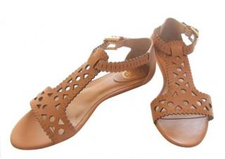 Ash Lasercut Tan Sandals