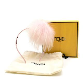 Fendi Girls Pink Fox Fur Pompom Headband